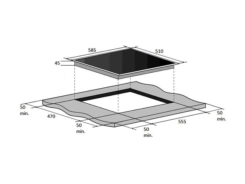 Варочная поверхность Fabiano FHG 10-44 VGH-T Black Glass в интернет-магазине