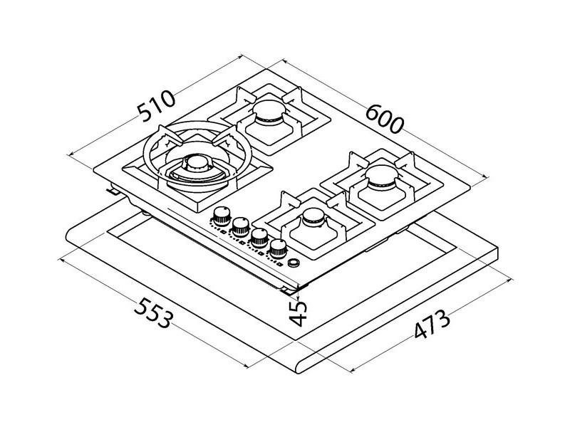 Варочная поверхность Perfelli design HGM 6440 Inox Slim Line стоимость