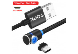 Кабель Topk L-Line1 2M LED Magnetic Micro USB Black