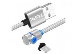 Кабель Topk L-Line1 1M LED Magnetic Lightning Silver - Интернет-магазин Denika