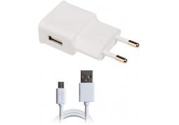 Зарядное устройство Grand-X (1xUSB 2.1A) White (CH-03UMW) + cable microUSB