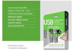 Аккумулятор ColorWay 18650 USB 1200 mAh 3.7V (2pcs.) (CW-UB18650-03) купить
