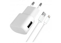 Зарядное устройство Florence 1USB 1A + Lightning cable White (FW-1U010W-L)