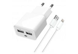 Зарядное устройство Florence 2USB 2A + Lightning cable White (FW-2U020W-L)