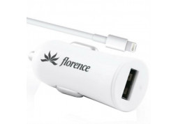 Зарядное устройство Florence USB + cable iPhone 5/6/6 Plus white, 1200mA (CC12-IPH6)