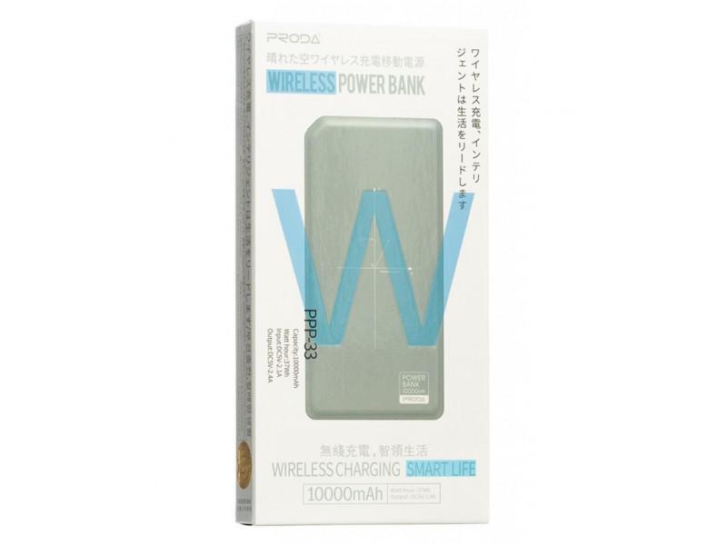 Powerbank аккумулятор Remax Proda Chicon Wireless 10000mAh Grey/White (PPP-33-GREY+WHITE) описание