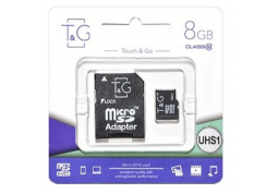 Карта памяти micro SDHC 8GB  T&G UHS-I Class 10 + adapter (TG-8GBSD10U1-01)