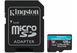Карта памяти Kingston 128GB microSDXC C10 UHS-I U3 A2 R170/W90MB/s Canvas Go Plus + SD адаптер SDCG3/128GB